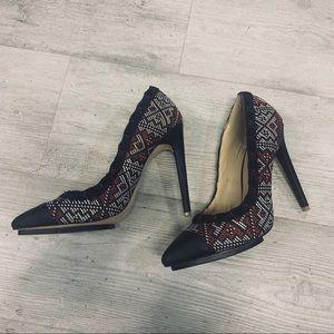 Red white black tribal heel